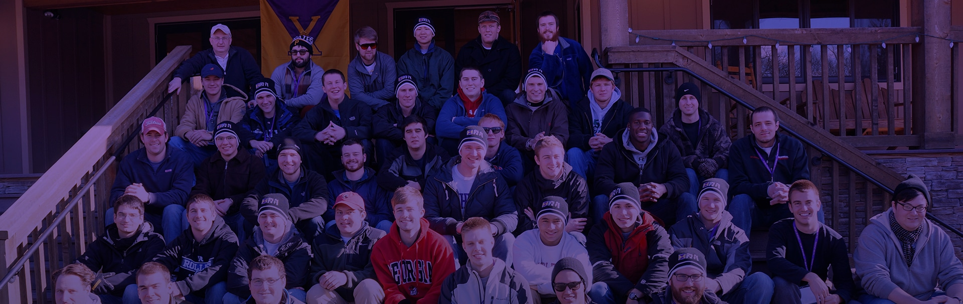 Group of fraternity brothers on steps